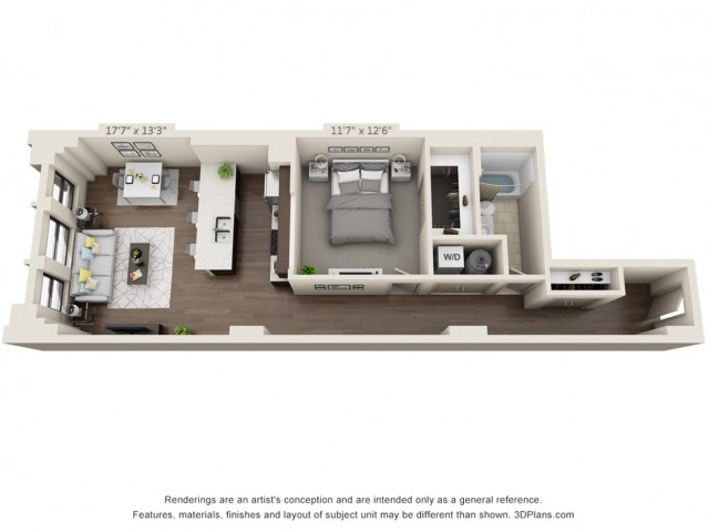 A13-ONE BEDROOM/ ONE BATHROOM- 858 Sq. Ft.