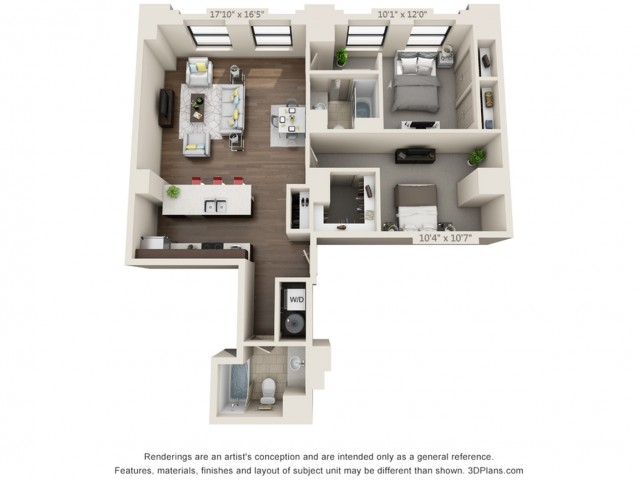 B09-TWO BEDROOMS/ TWO BATHROOMS- 1107 Sq. Ft.