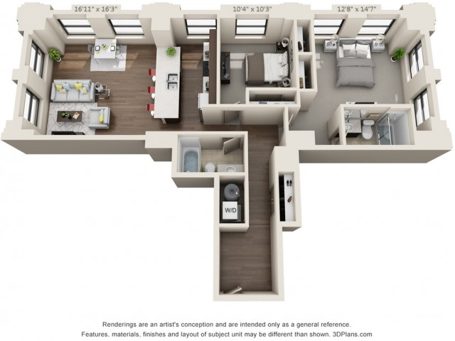 B11-TWO BEDROOMS/ TWO BATHROOMS- 1172 Sq. Ft.