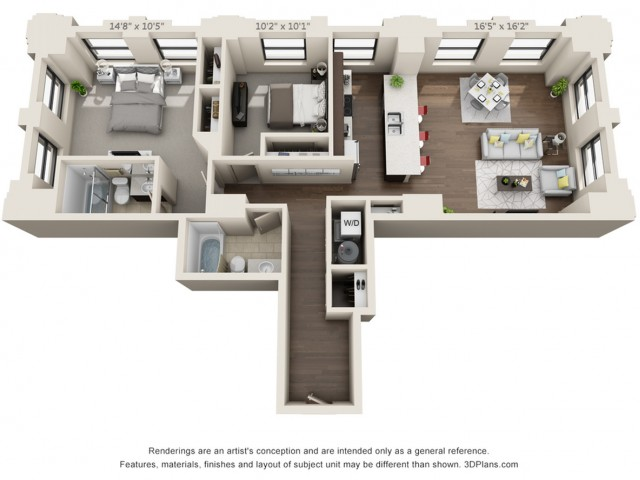 B12-TWO BEDROOMS/ TWO BATHROOMS- 1184 Sq. Ft.