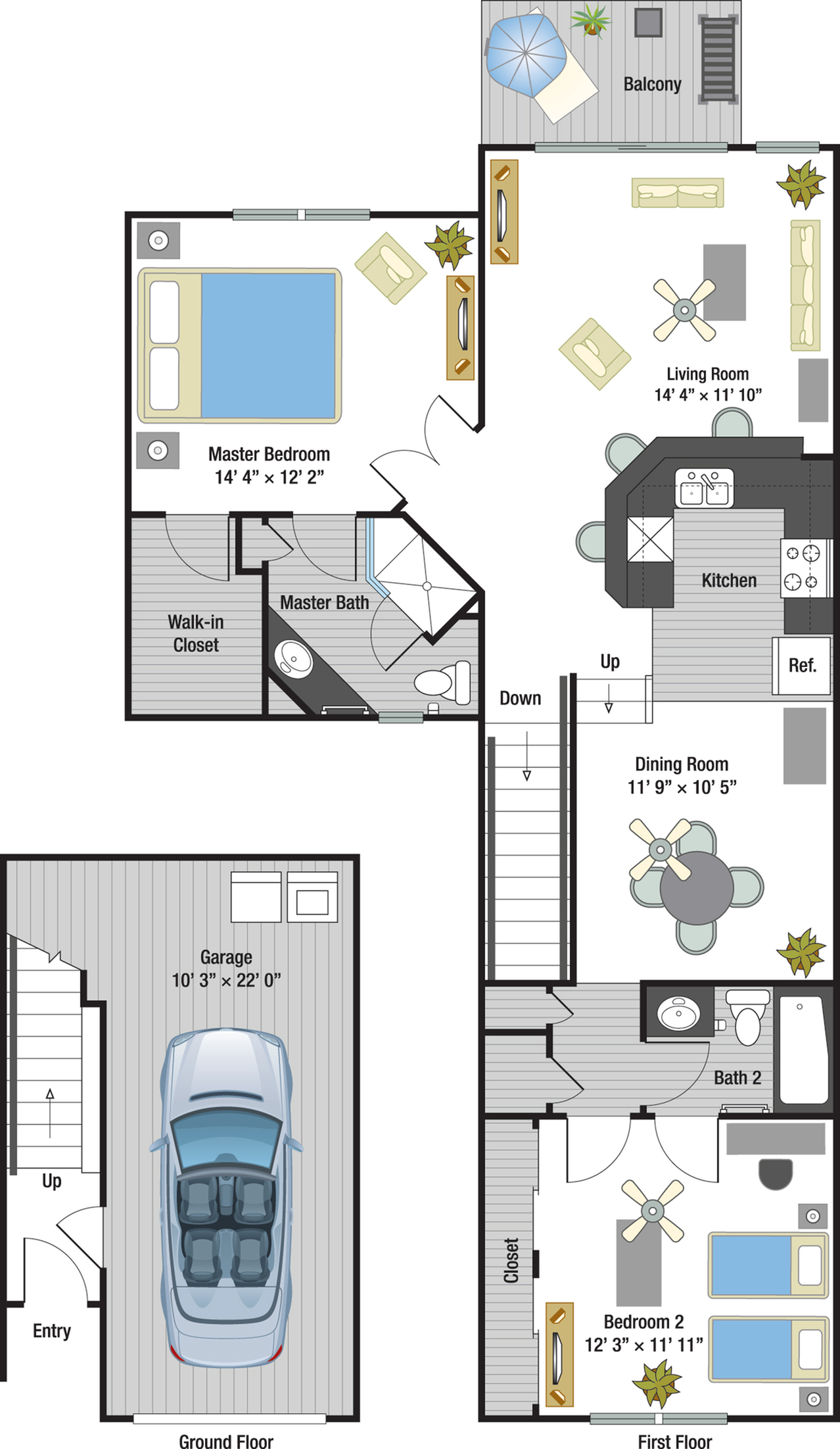 Marbella two bedroom two bathroom town home floor plan