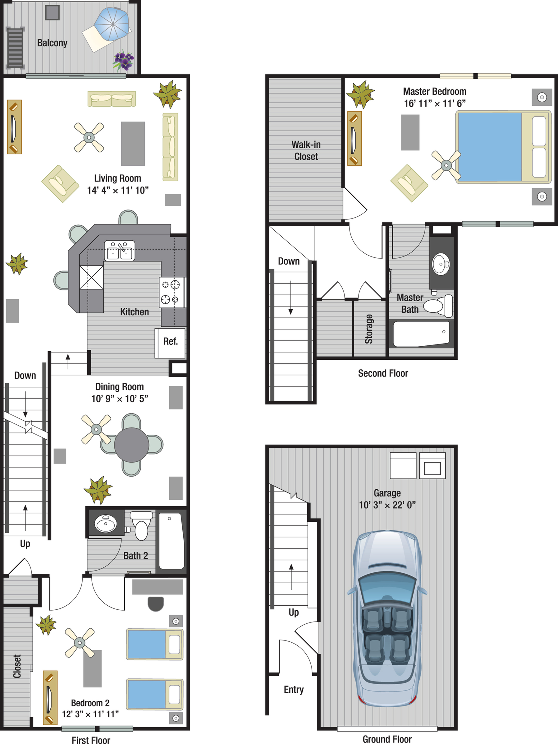 Capri two bedroom two bathroom town home floor plan