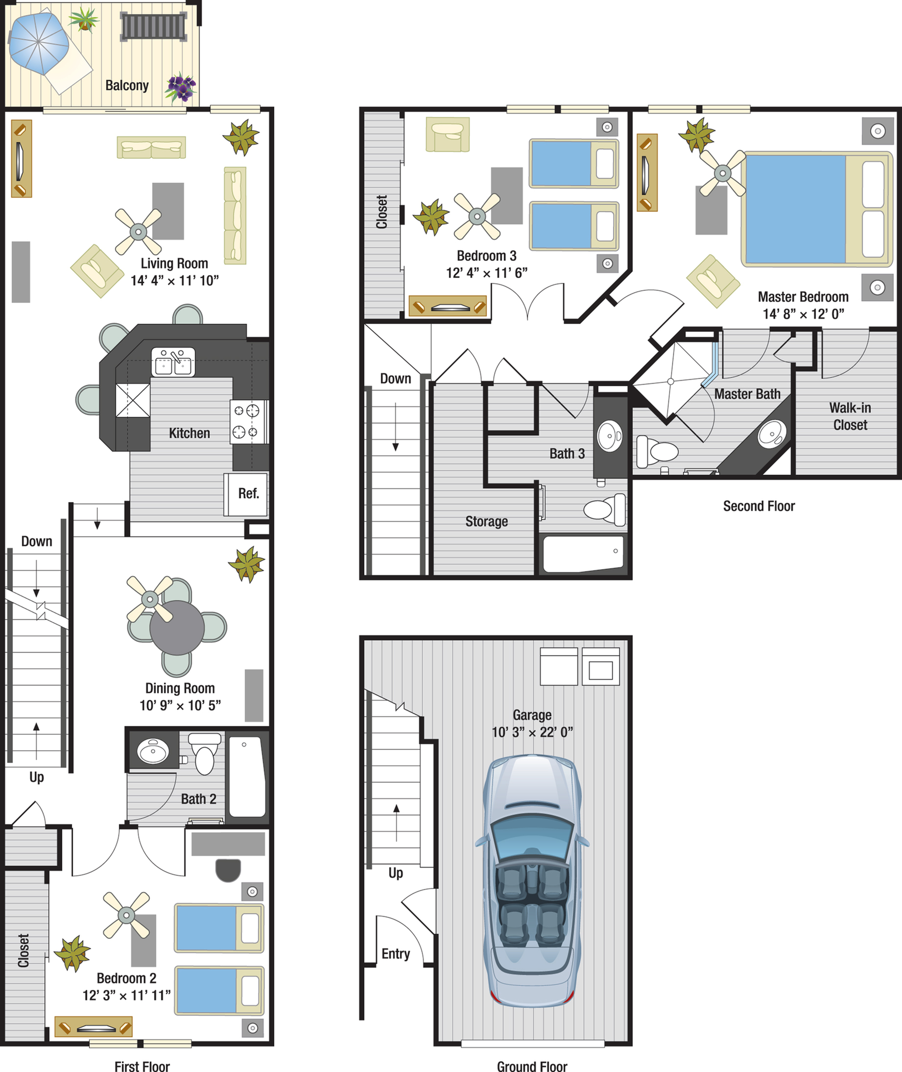Riviera three bedroom three bathroom town home with single car garage floor plan