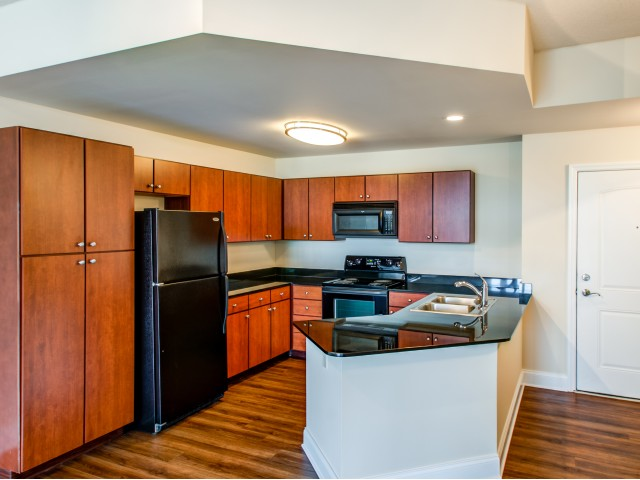 Image of Your choice of maple or cherry cabinetry with brushed nickel hardware for The Encore on 7th Apartments