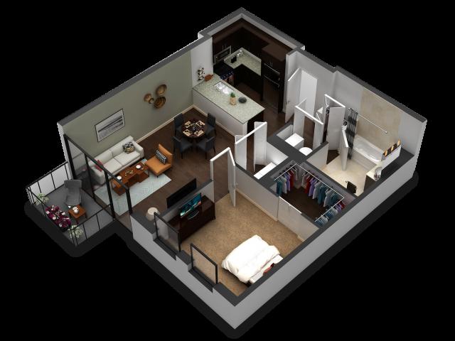 1 Bedroom Floor Plan B6b