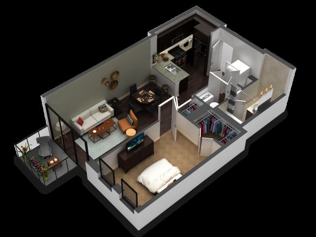 1 Bedroom Floor Plan B3