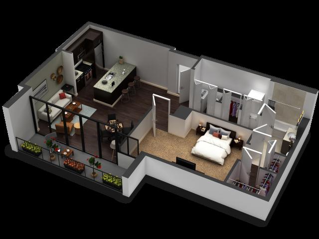 1 Bedroom Floor Plan B9