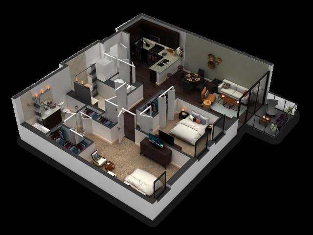 2 Bedroom / 2 Bath Floor Plan C1