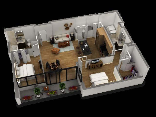 2 Bedroom / 2 Bath Floor Plan C2