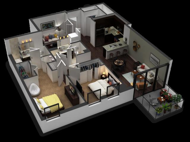 2 Bedroom / 2 Bath Floor Plan C6