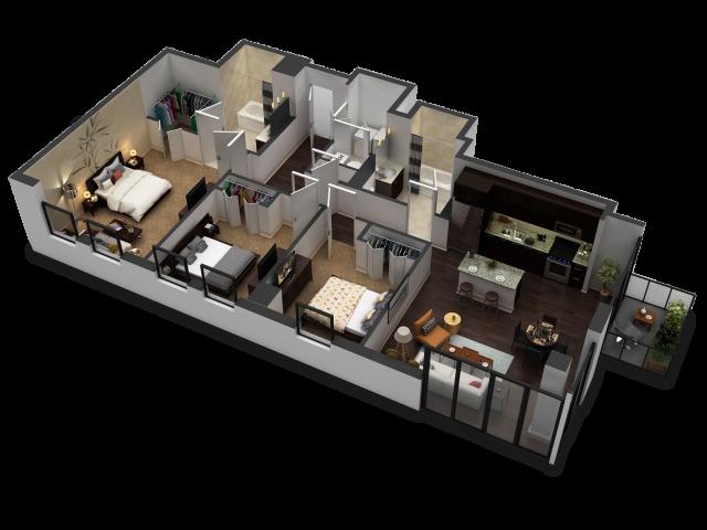 3 Bedroom / 2 Bath Floor Plan D2