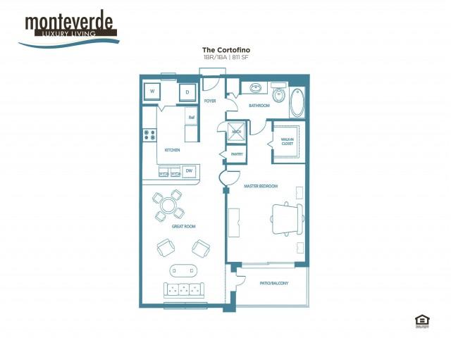 The Cortofino 1 bedroom 1 bathroom floor plan, 811 sq. ft.