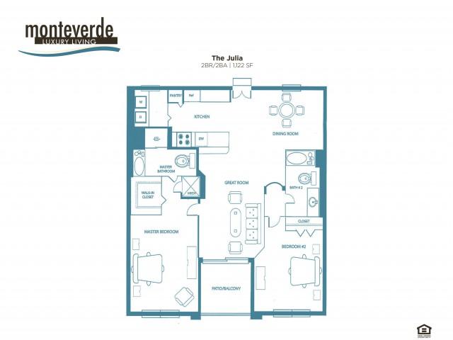 The Julia two bedroom two bathroom floor plan, 1,122 sq. ft.