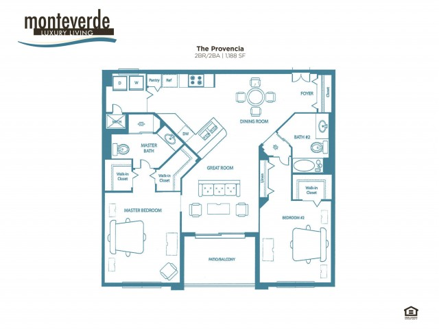 The Provencia two bedroom two bathroom floor plan, 1,188 sq. ft.