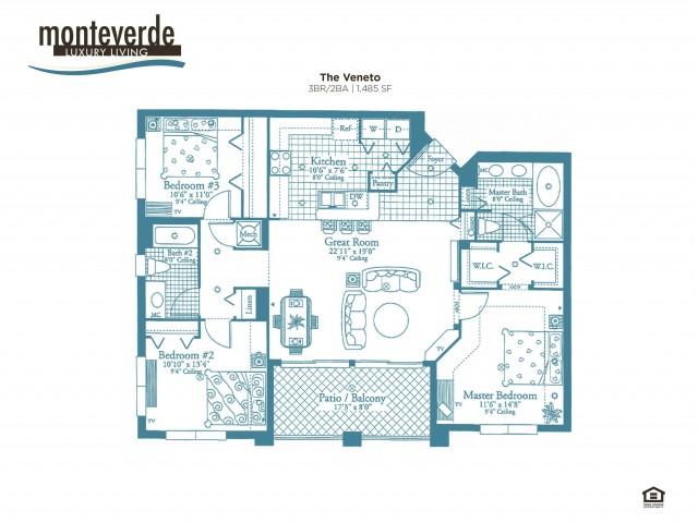 The Veneto three bedroom two bathroom floor plan, 1,488 sq.ft.