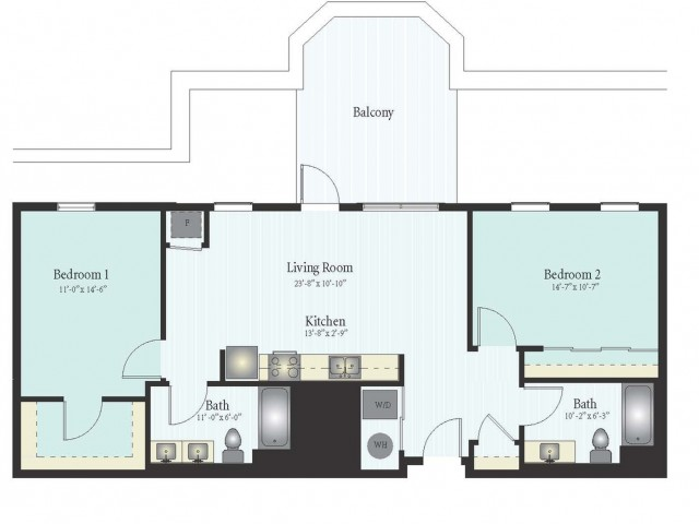 Floor Plan 42 | 2 Bed 2 Bath Floor Plan The Oak View 1