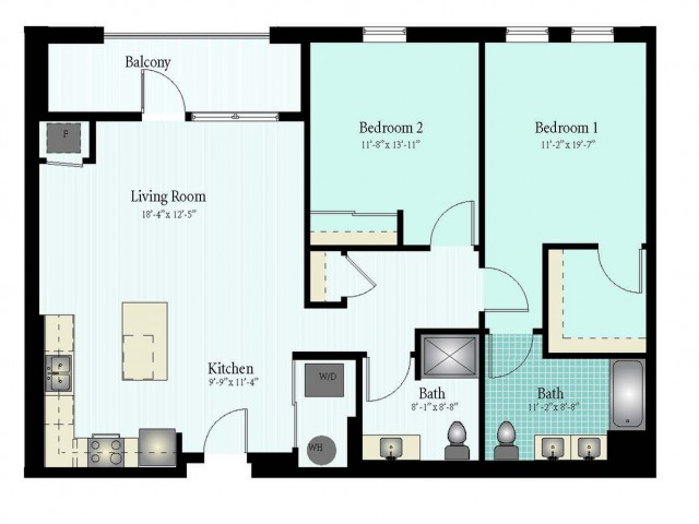 Floor Plan 40 | 2 Bed 2 Bath Floor Plan The Oak View 5