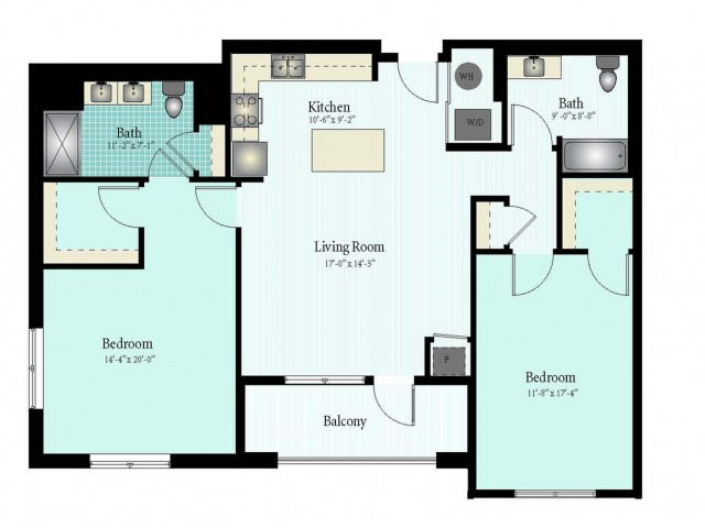 Floor Plan 55 | 2 Bed 2 Bath Floor Plan The Oak View 15