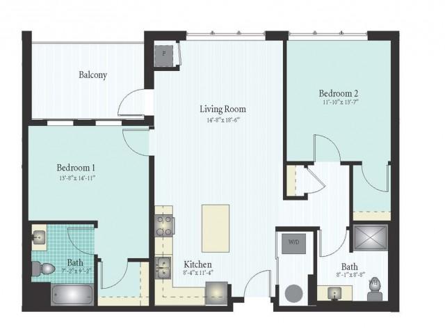 Floor Plan 41 | 2 Bed 2 Bath Floor Plan The Oak View 3