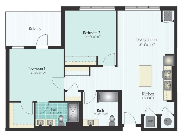 Floor Plan 45 | 2 Bed 2 Bath Floor Plan The Oak View 9