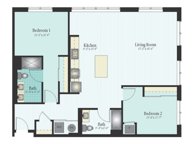 Floor Plan 37 | 2 Bed 2 Bath Floor Plan The Oak View 14