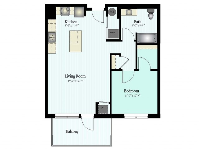 Floor Plan 28 | 1 Bed 1 Bath Floor Plan The Grove 2