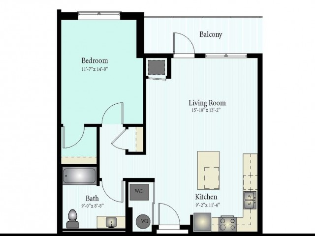 Floor Plan 11 | 1 Bed 1 Bath Floor Plan The Grove 6