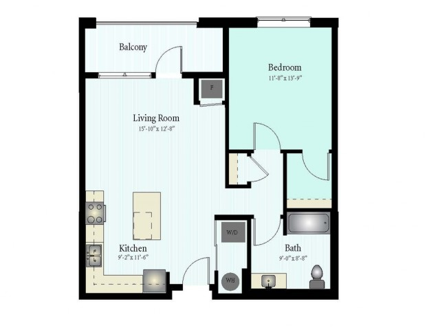 Floor Plan 14 | 1 Bed 1 Bath Floor Plan The Grove 3