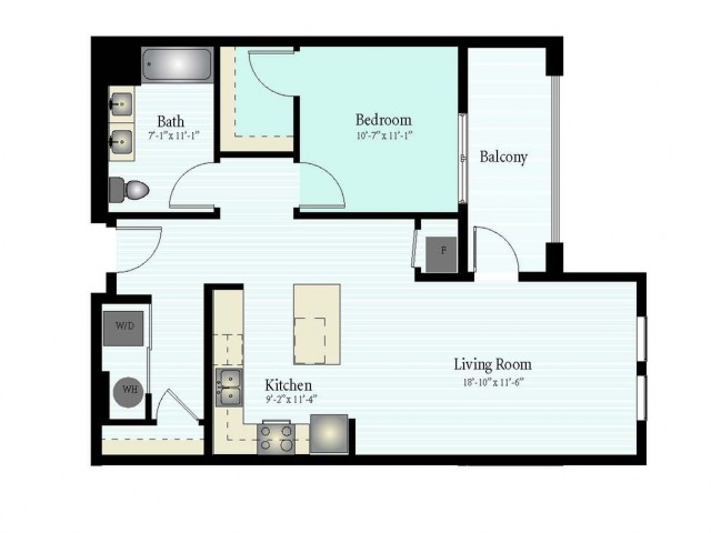 Floor Plan 9 | 1 Bed 1 Bath Floor Plan The Grove 12