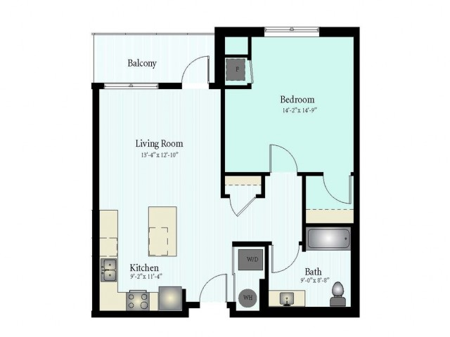 Floor Plan 7 | 1 Bed 1 Bath Floor Plan The Grove 7