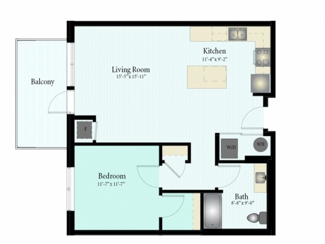 Floor Plan 31 | 1 Bed 1 Bath Floor Plan The Grove 5