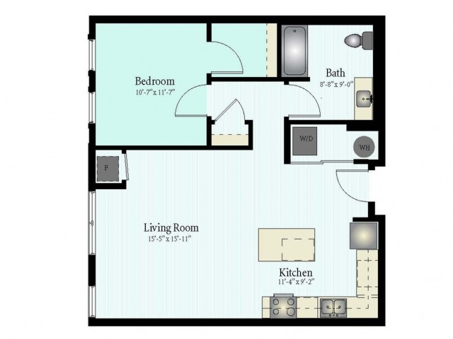 Floor Plan 27 | 1 Bed 1 Bath Floor Plan The Northfield 2