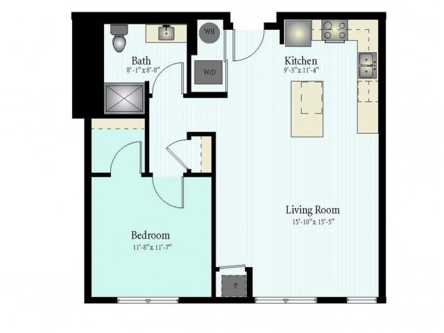 1 Bed 1 Bath Floor Plan The Northfield 4