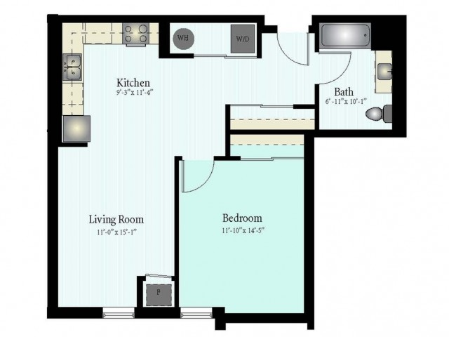 Floor Plan 25 | 1 Bed 1 Bath Floor Plan The Northfield 3
