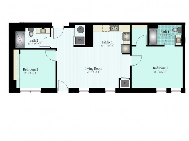 Floor Plan 34 | 2 Bed 2 Bath Floor Plan The Glendale 1