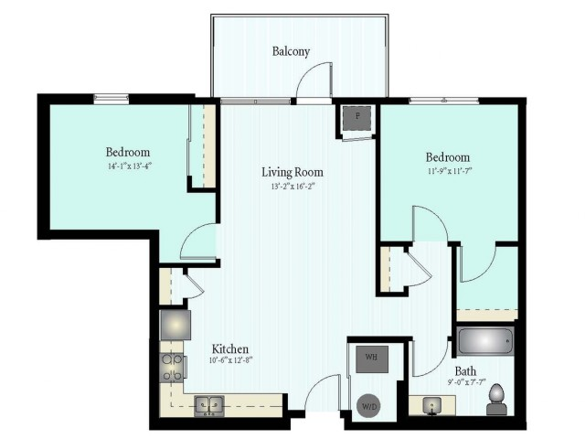Floor Plan 56 | 2 Bed 1 Bath Floor Plan The Westbrook 2