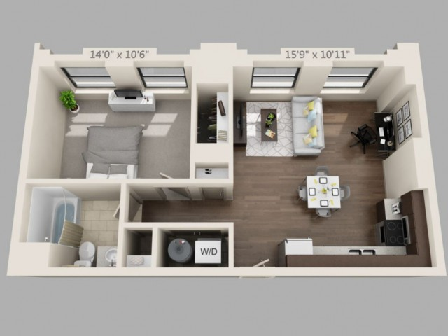 A11-ONE BEDROOM/ ONE BATHROOM- 820 Sq. Ft.