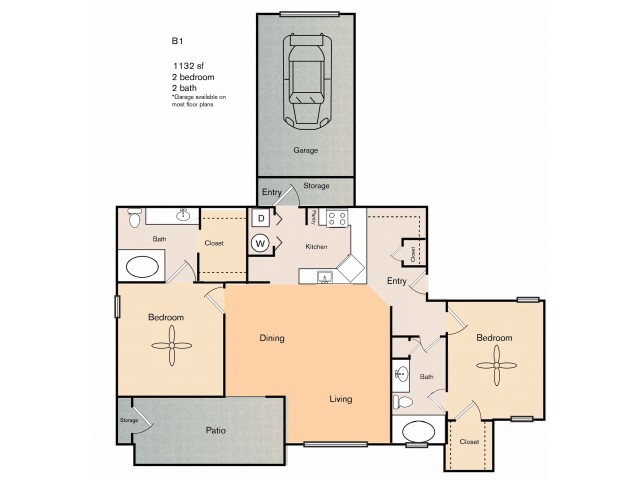 2 bedroom 2 bath apartment with dining area, private patio, storage space, garage and 1132 square feet.