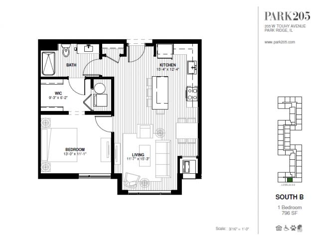One Bedroom - South B Floor Plan