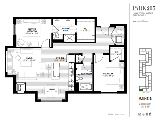 Two Bedroom - Maine B Floor Plan