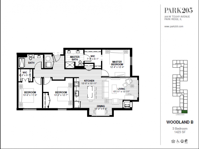 Three Bedroom - Woodland B Floor Plan