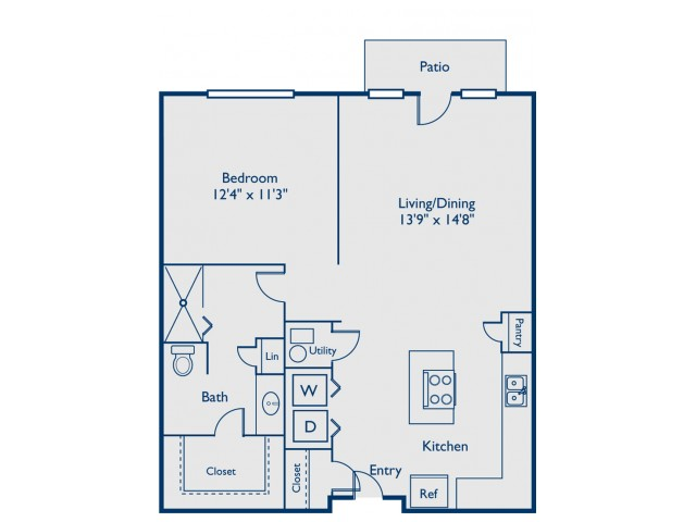 A1 one bed, one bath with open concept kitchen, island and patio