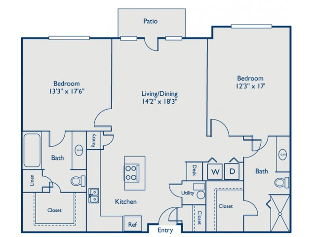 B1 two bed, two bath with large kitchen, island and patio