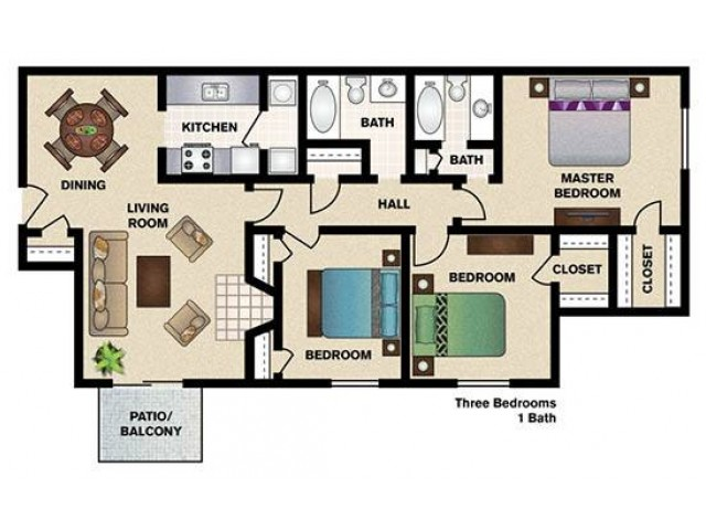 Three Bedrooms/Two Bathrooms