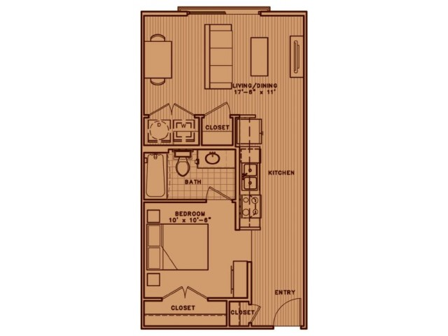 E2A soft one bedroom with open living room concept
