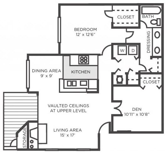 Poplar- One Bedroom One Bathroom with Den