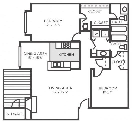 Oak- Two Bedroom Two Bathroom