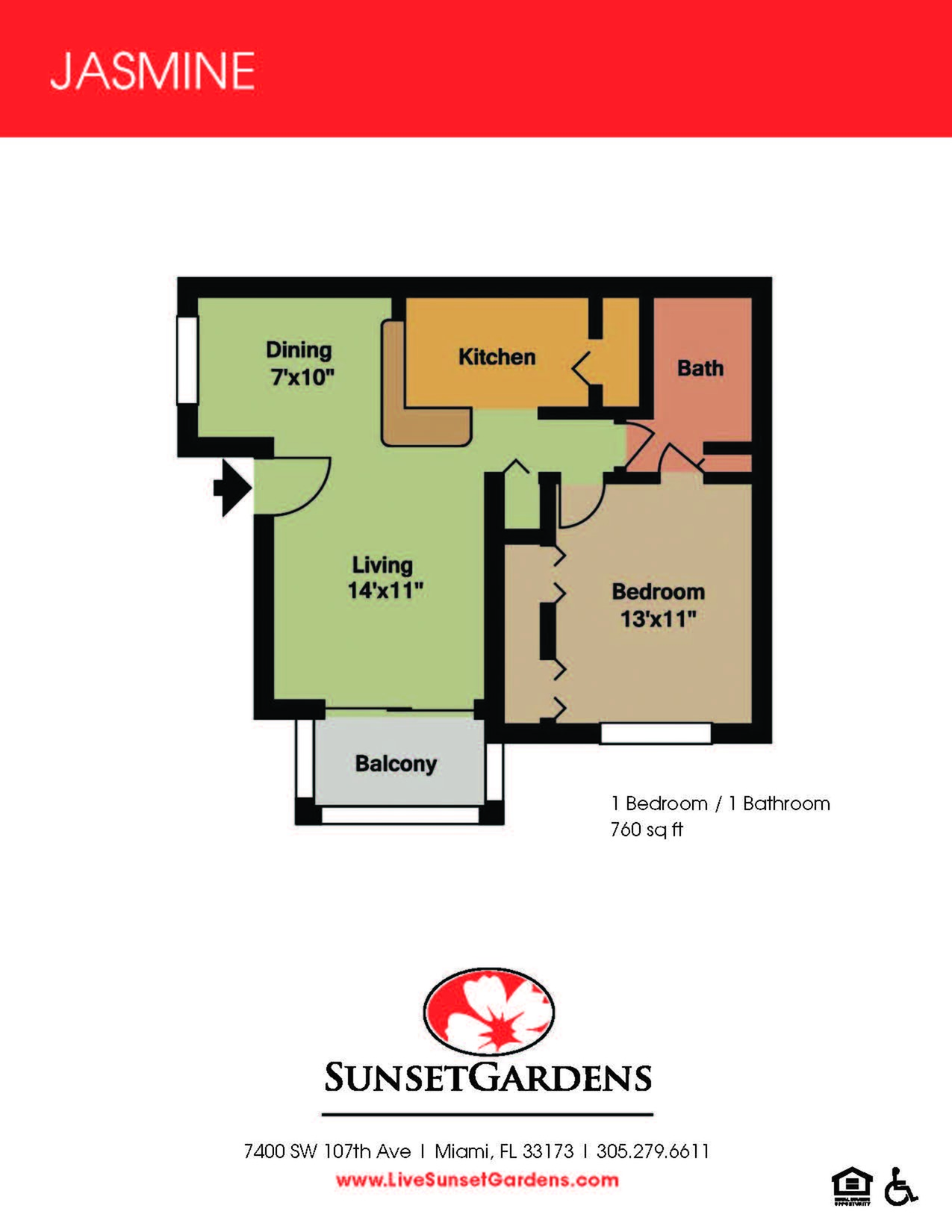 Jasmine one bedroom one bathroom floor plan