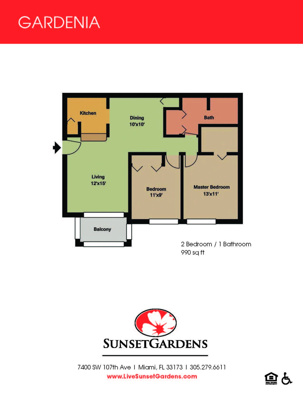Gardenia two bedroom one bathroom floor plan