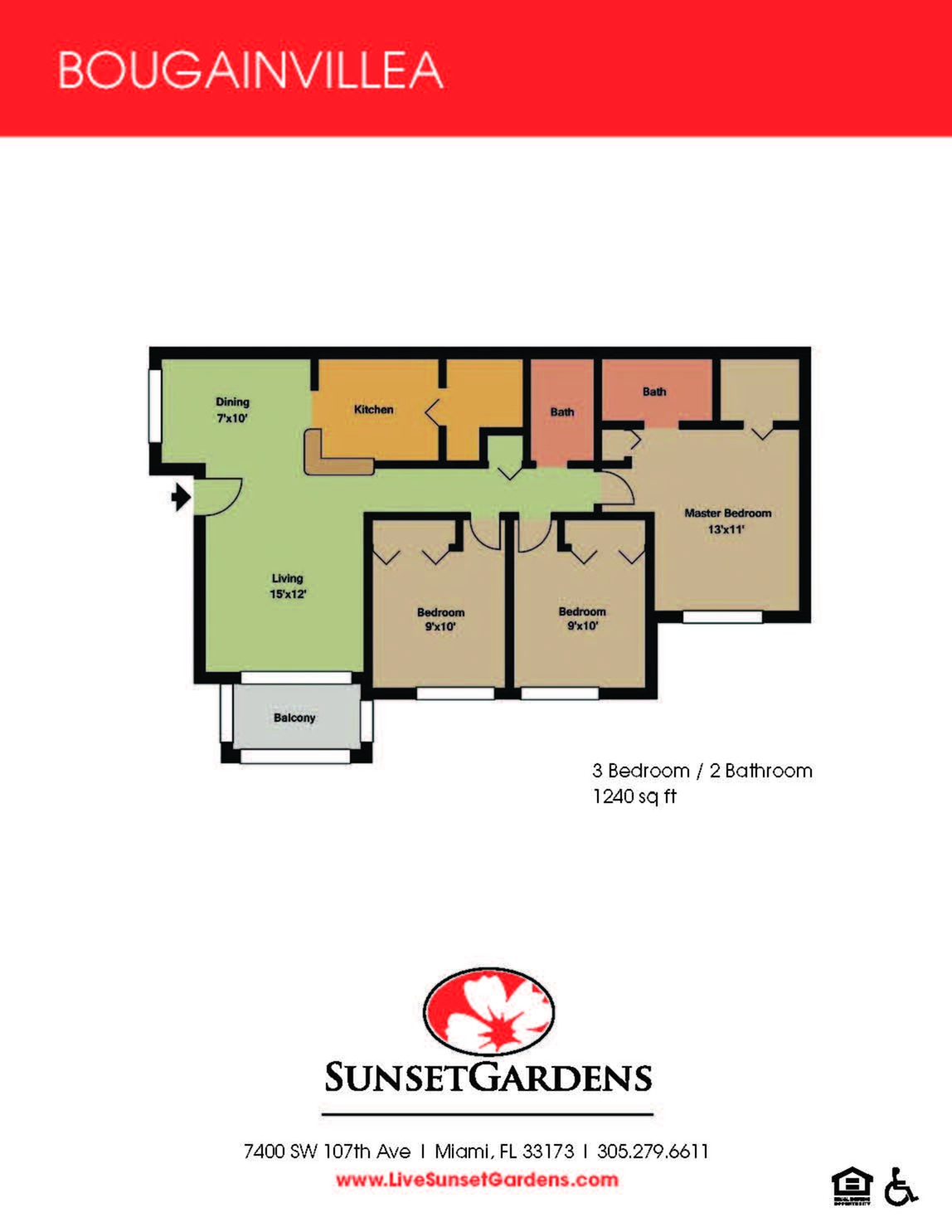 Bougainvillea upgraded three bedroom two bathroom floor plan